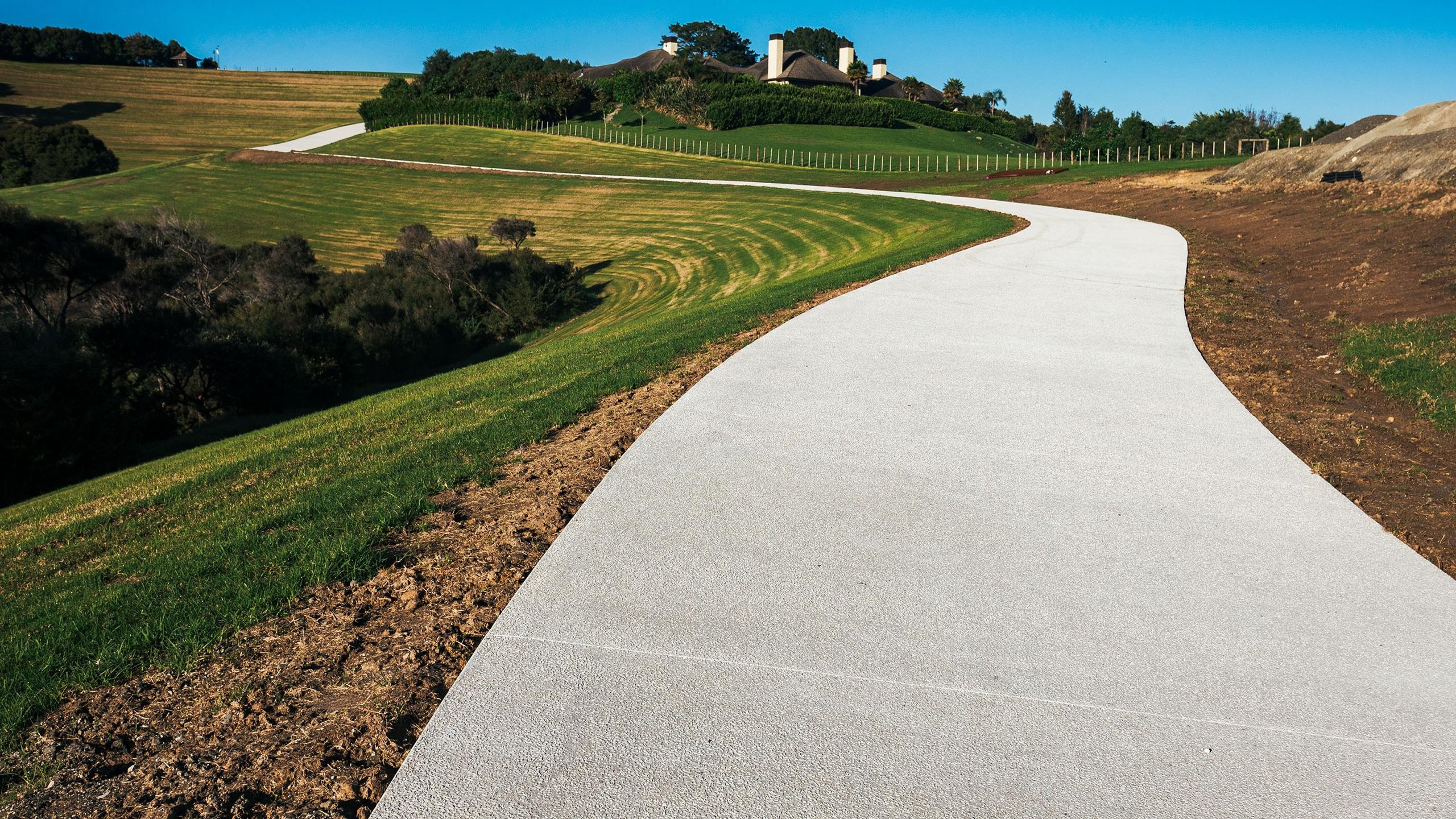 white concrete driveway in Coatesville.