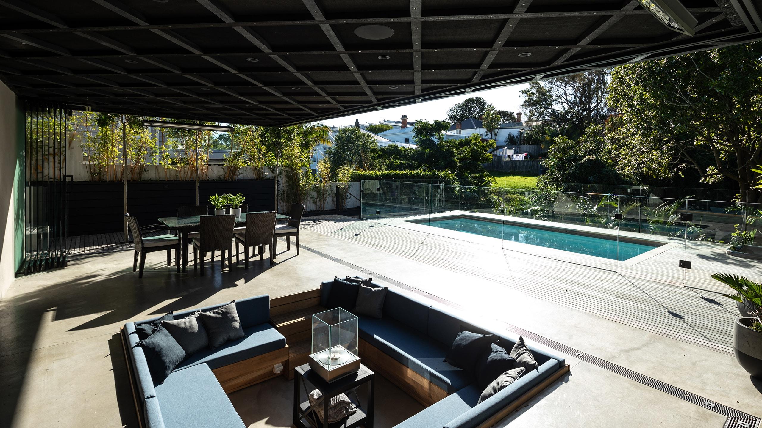 Coloured concrete patio, concrete pool surrounds