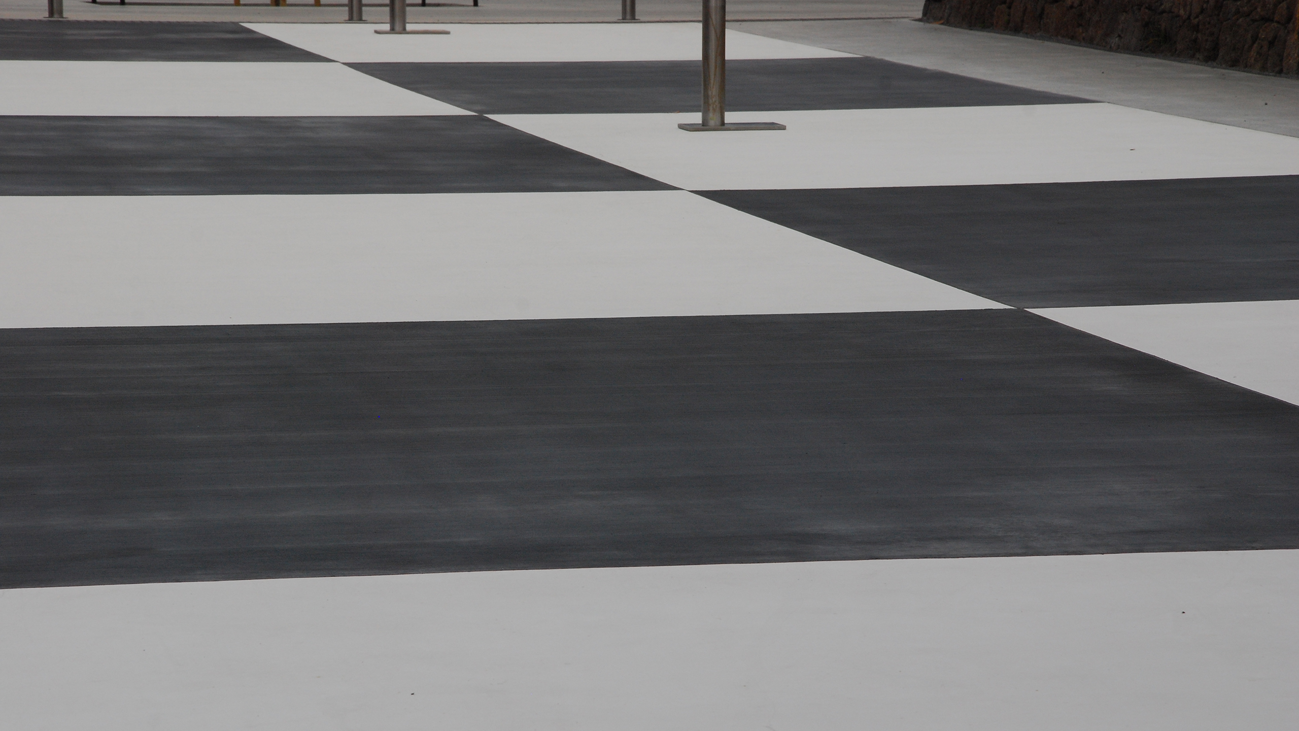 black and white patterned concrete path.