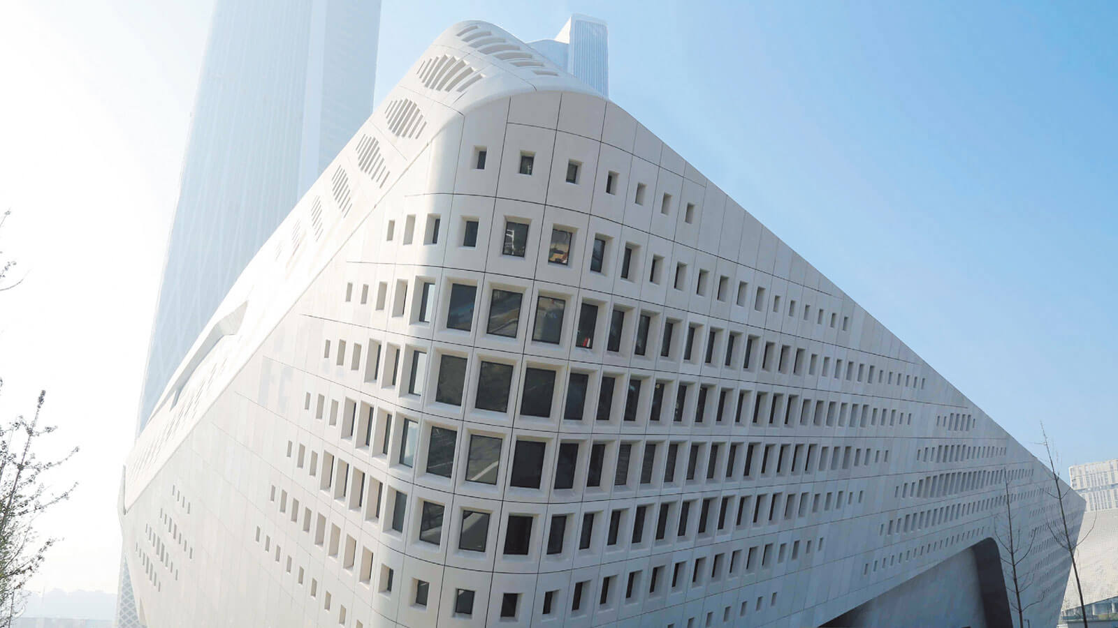 Building made of white concrete.
