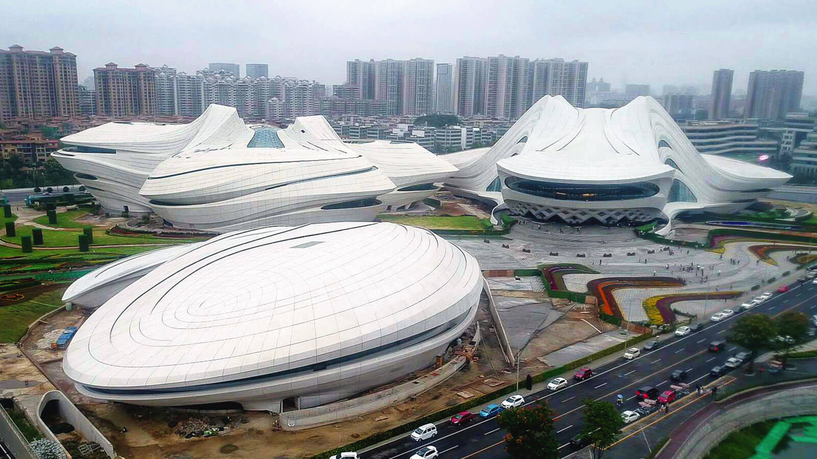 Stadium made of white concrete.