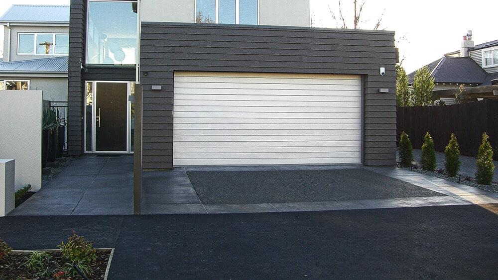 black concrete driveway.