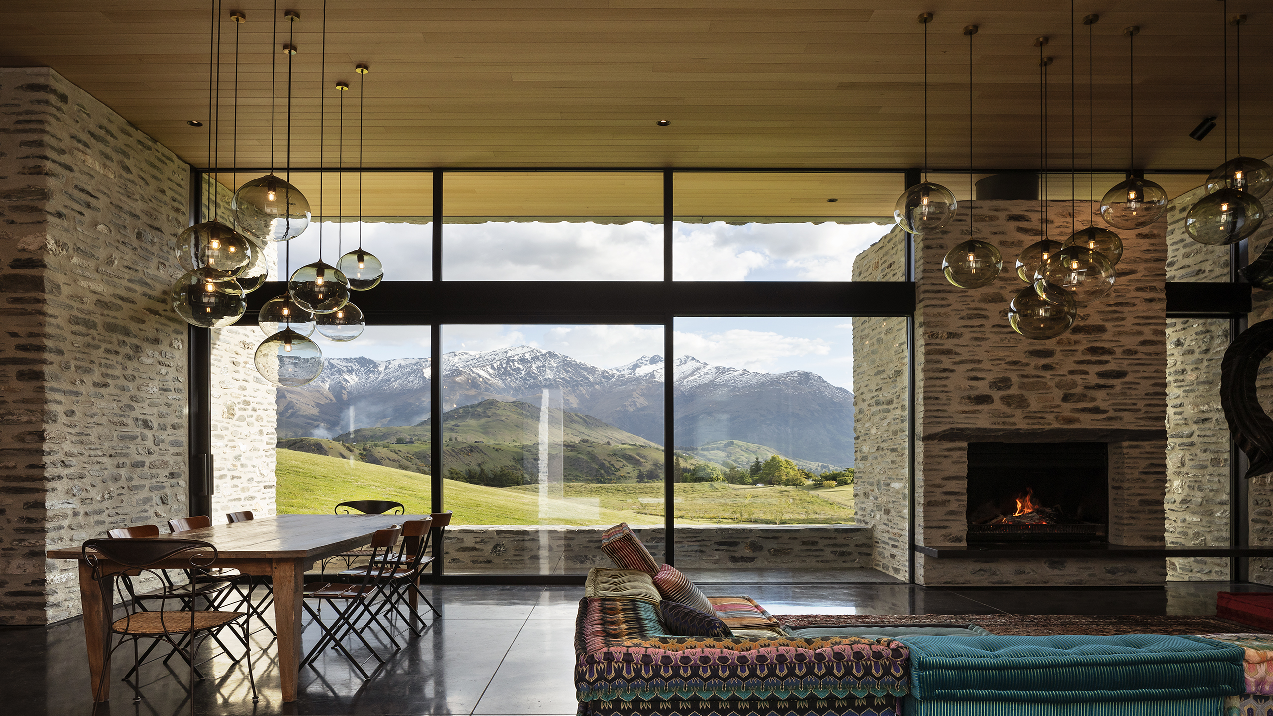 polished concrete floor in award winning home overlooking the Southern Alps.