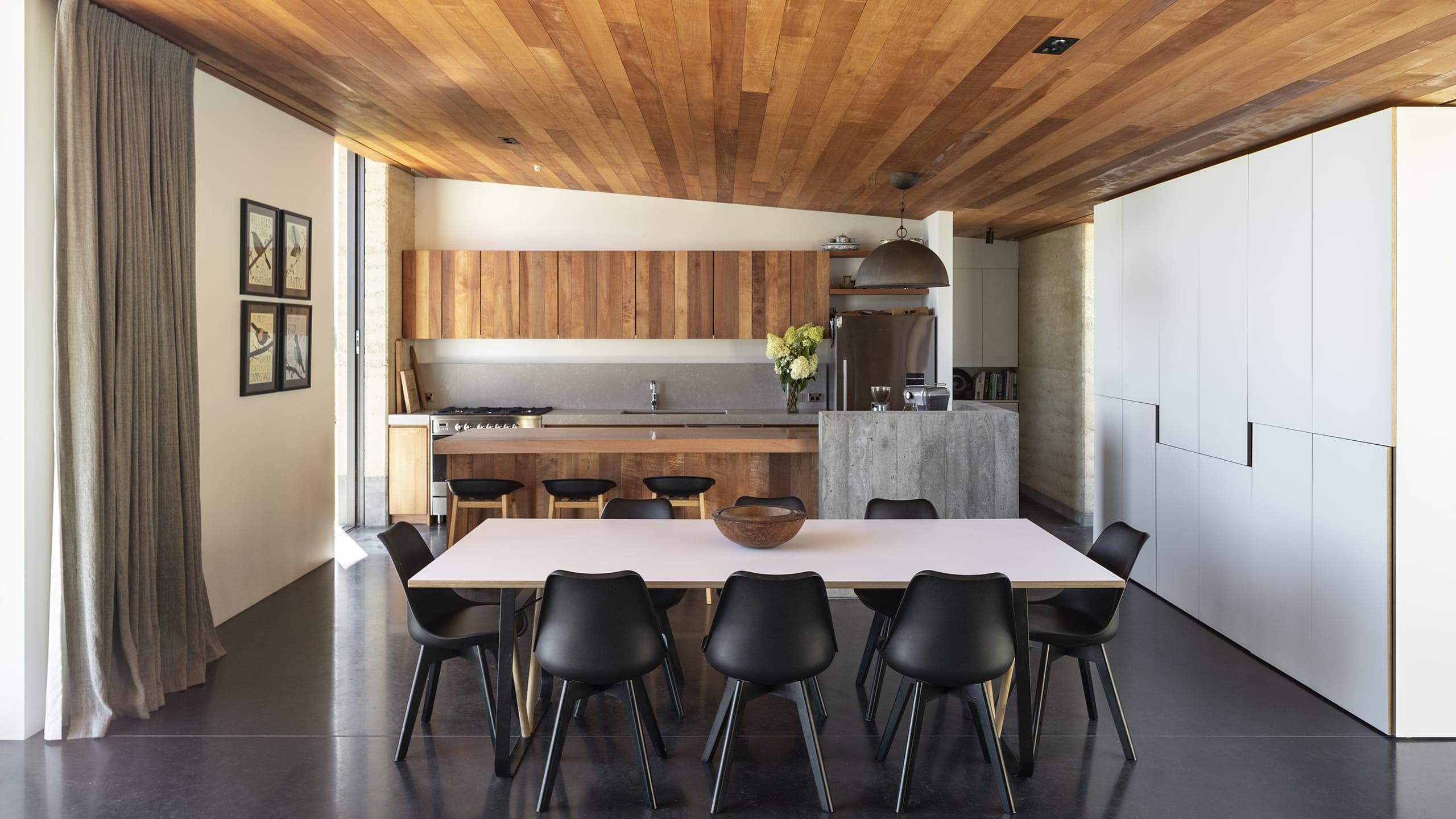 coloured concrete floors interior kitchen dining floor