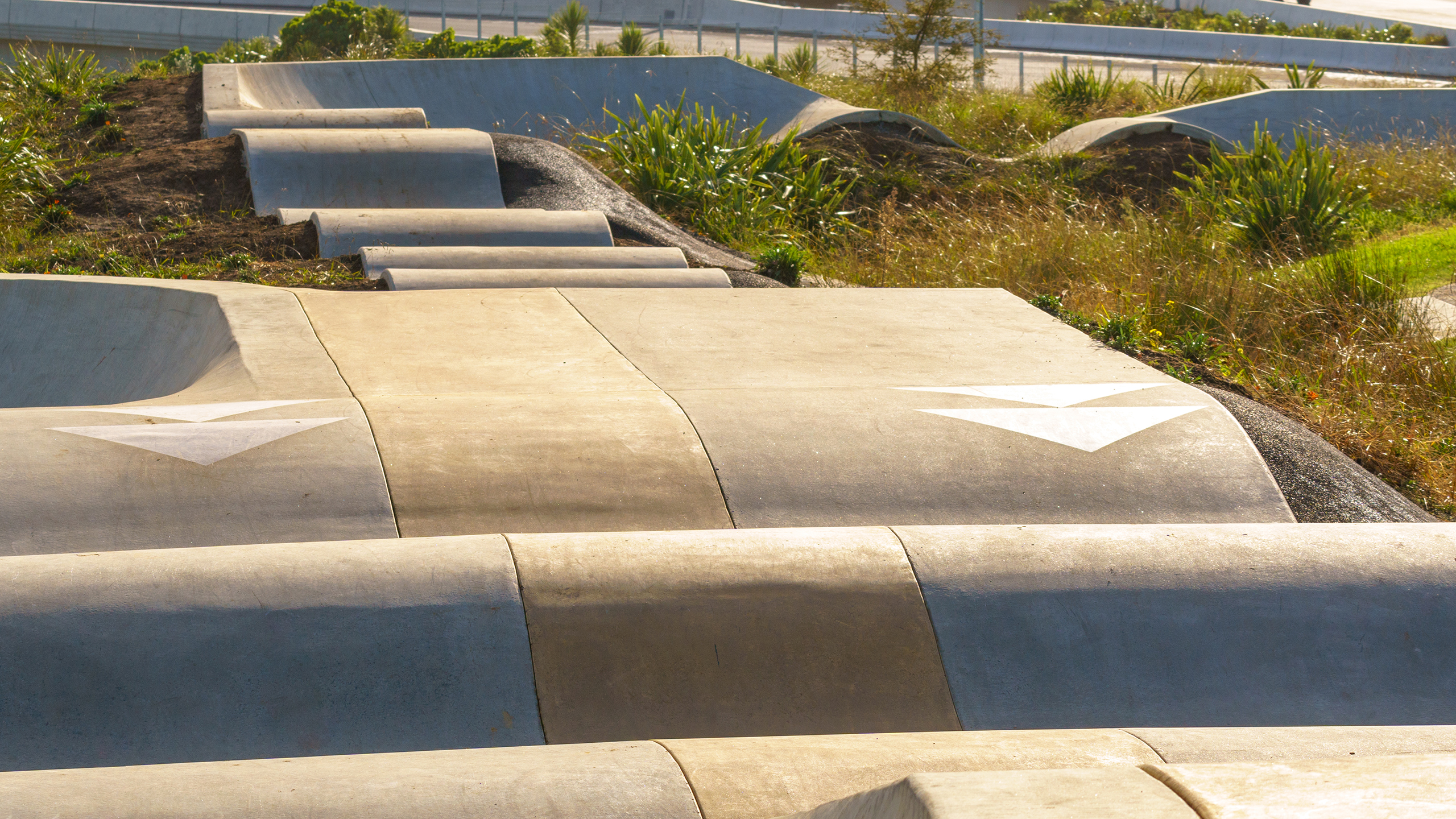 coloured concrete skatepark in Auckland suburb of Waterview.