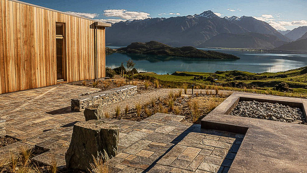 coloured concrete patio overlooking lake in Central Otago