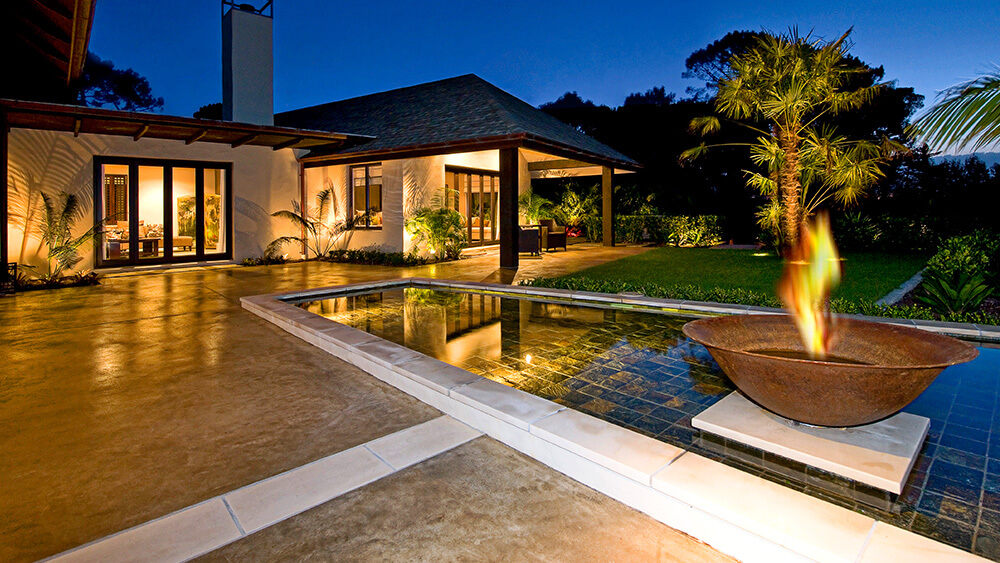Coloured concrete patio and water feature