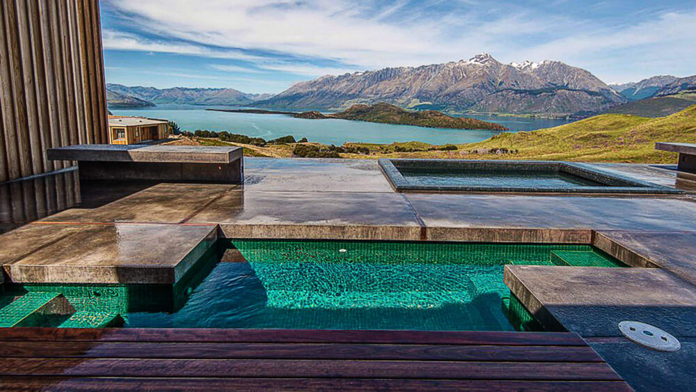 concrete pool surround in Queenstown
