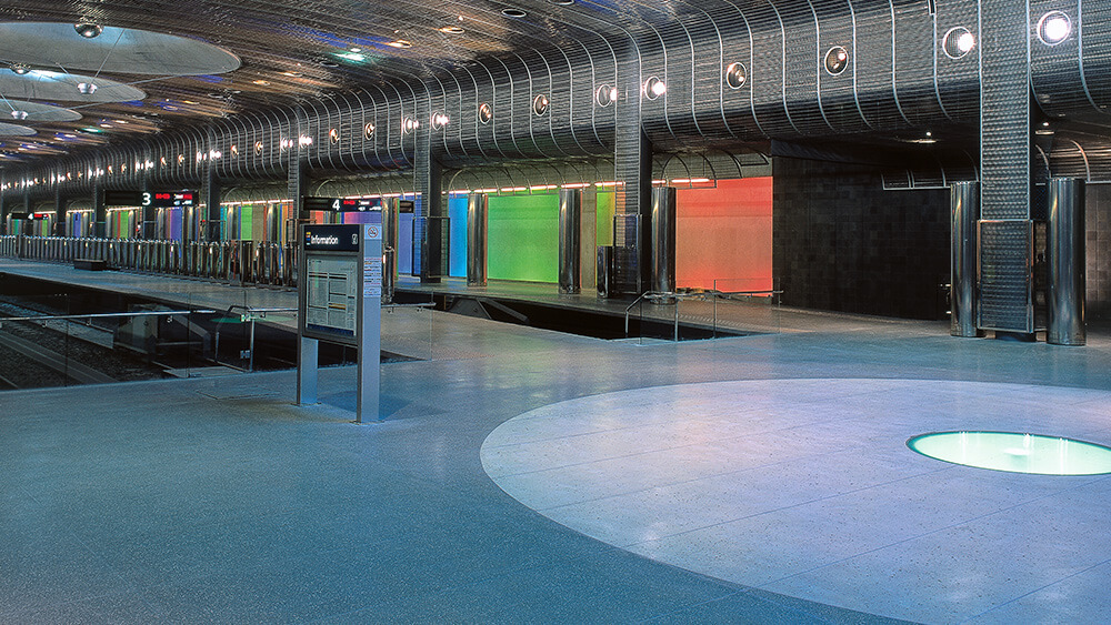 Coloured concrete floor in Britomart Train Station