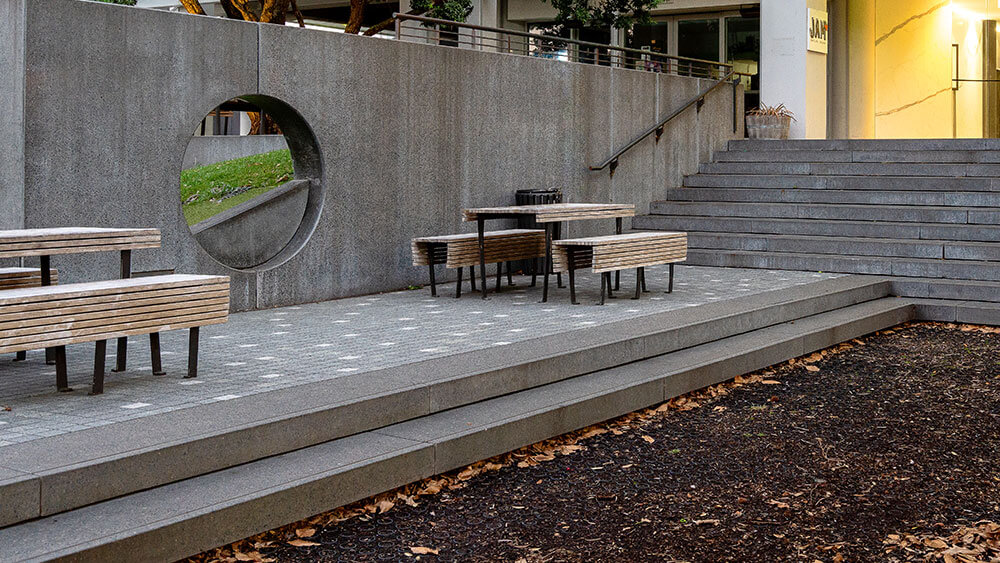 Coloured concrete stairs and wall in a public park