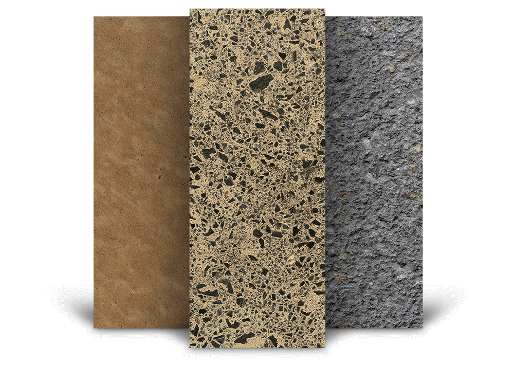 different concrete textures, including heavy grind, rough non slip concrete surface and light polished natural look.