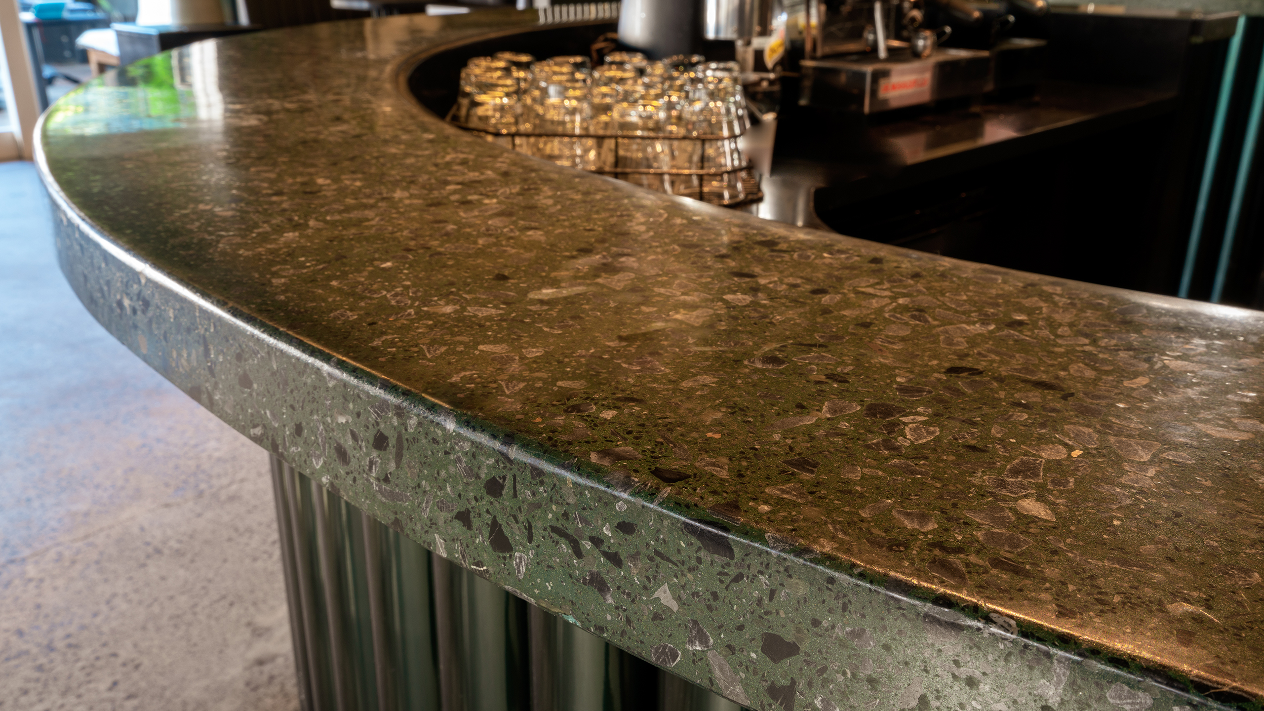 polished concrete bar top